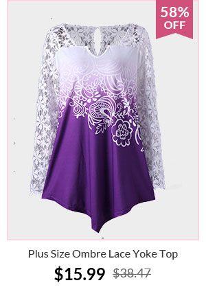 Plus Size Ombre Lace Yoke Top
