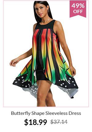 Butterfly Shape Sleeveless Dress