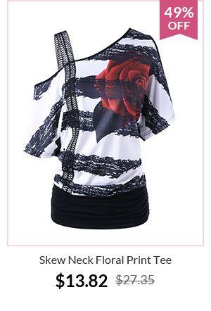 Skew Neck Floral Print Tee