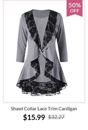 Shawl Collar Lace Trim Cardigan