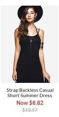 Spaghetti Strap Backless Casual Short Summer Dress