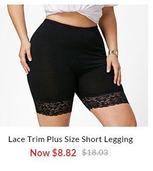 Lace Trim Plus Size Short Leggings