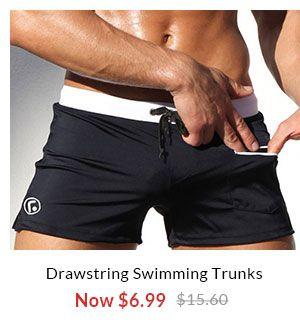 Pocket Design Drawstring Swimming Trunks