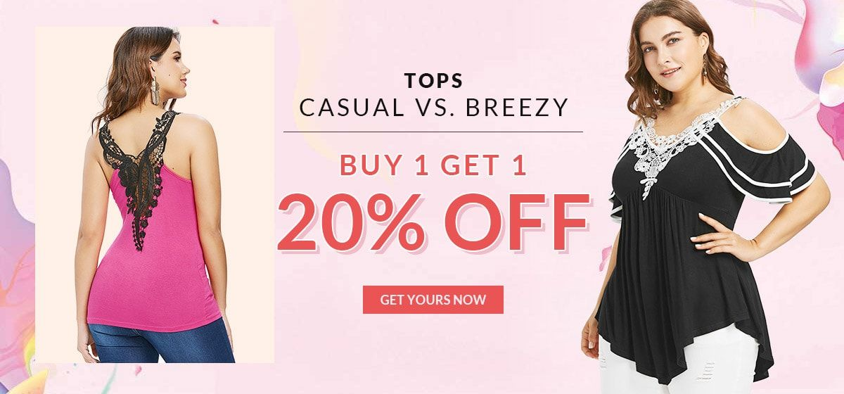 rosegal-Tops: Buy 1 Get 1 20% Off