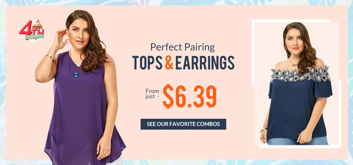 rosegal-Plus Size Tops & Earrings